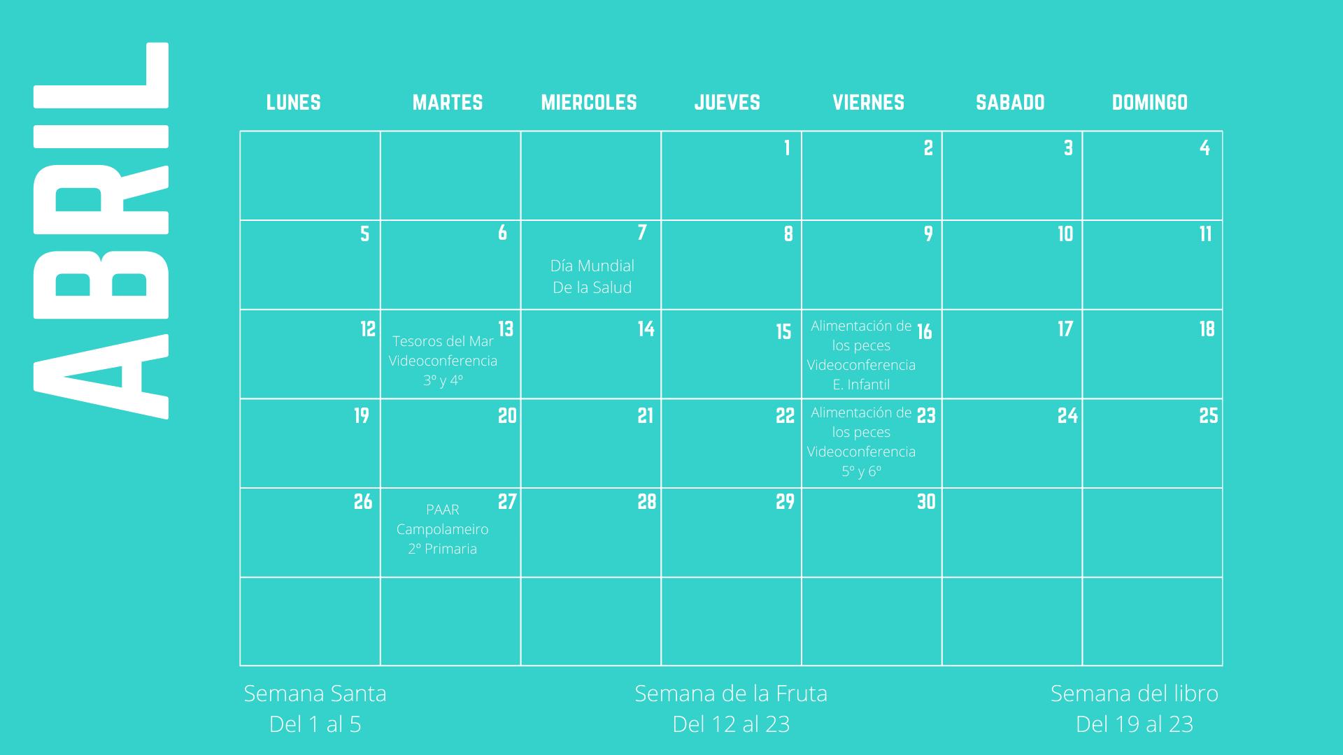 Actividades mes de abril